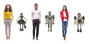 Robot versnelt, een mens creert