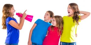 Megaphone,Leader,Kid,Girl,Shouting,Speaking,To,Friends,On,White